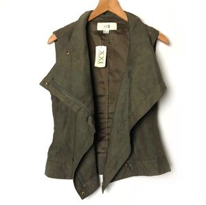 Forever 21 Faux Suede Full Zip Olive Green Vest